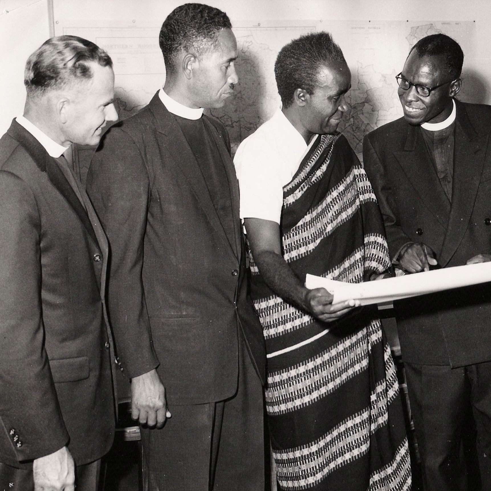 Church leaders -- including then-Brethren in Christ bishop Frank Kipe Sr. (far left) -- congratulate Zambian President Kenneth Kaunda on his inauguration in 1964 (Brethren in Christ Historical Library and Archives)