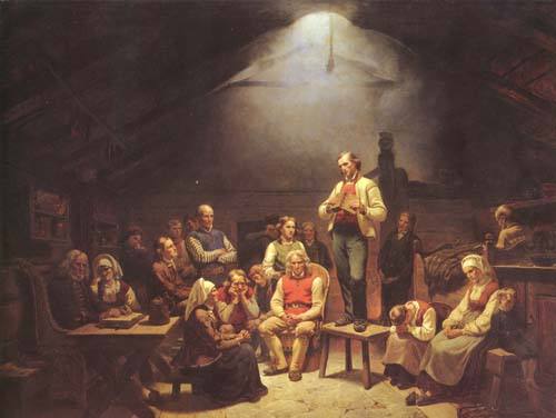 From their beginnings in 17th-century Germany, Pietists convened in small groups or conventicles, as pictured here. The River Brethren who embraced Pietism more than a century later also felt the need gather for Bible study, testimony sharing, and prayer. (Wikimedia Commons)