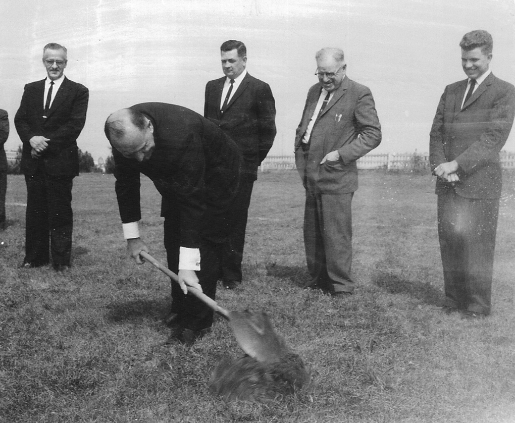 """In the early 1960s, the Brethren in Christ planted the Skyline View congregation in suburban Harrisburg, Pa., using methods gleaned from the Evangelical Church Growth movement. This photo, from the groundbreaking, depicts a formerly """"plain people"""" in the midst of a cultural transformation. (Brethren in Christ Historical Library and Archives)"""