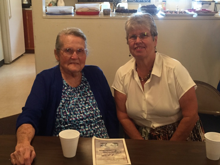The congregation's oldest member, Leoda Kiteley Brady, and her daughter, Mary Brady Ford. Leola is a descendant of Bishop Henry Schneider. Photo by Laura Reppenhagan.