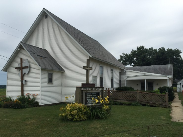 An exterior shot of the Carland-Zion Brethren in Christ Church in Carland, Michigan. Photo by Laura Reppenhagen,