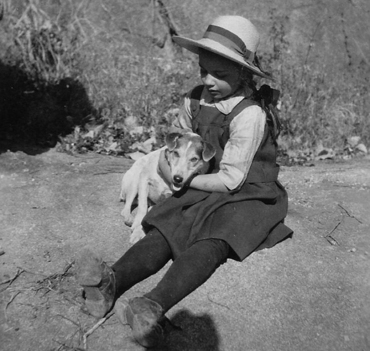 Mabel Frey with one of her dogs