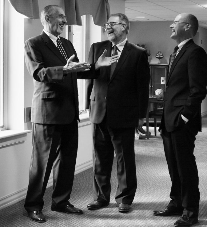 From left to right: George Kibler, Emerson Lesher, and Curt Stutzman share a laugh during a photo shoot for the spring edition of the Messiah Lifeways Magazine